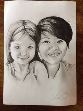 Mother and daughter. When Vietnamese people marry Westerners their children are so incredibly fascinating to draw